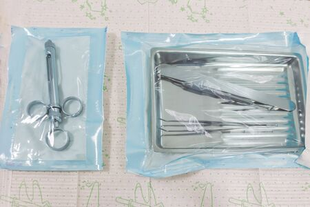 Medical instruments in sterile plastic packaging