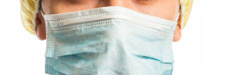 doctors face in medical mask closeup, panorama isolate on white background