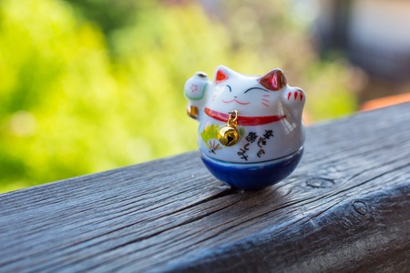Maneki Neko - Lucky Cat in blue color - for study and career photo