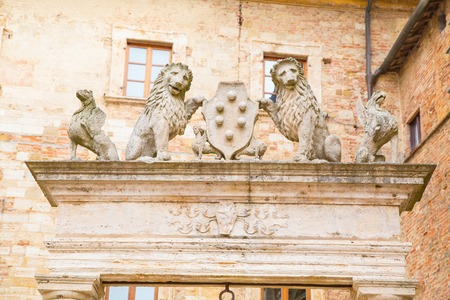 Details Of Ancient Well Of Griffins And Lions Holding Symbol Stock