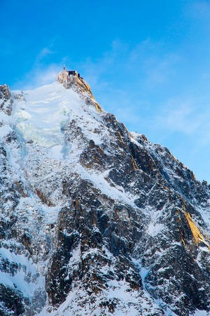 aiguille: The mountain top station of the Aiguille du Midi in Chamonix Stock Photo