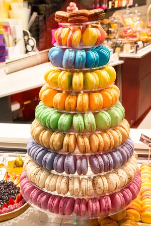 traditional french colorful macarons in a tower Stock Photo