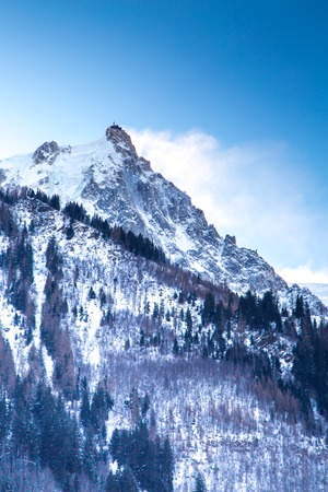 aiguille: The mountain view from the station  of the Aiguille du Midi in Chamonix, France