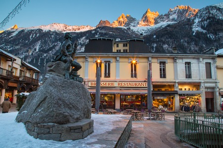 mountaineer: CHAMONIX, FRANCE - JANUARY 2015: Famous mountaineer and scientist Dr Gabriel Paccard statue in Chamonix, France, 30 January 2015