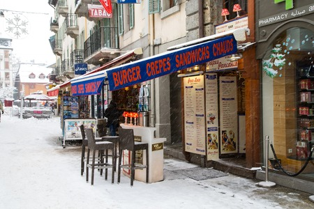 CHAMONIX, FRANCE - JANUARY 2015: Outdoor Bar in Chamonix town in French Alps, France, 30 January 2015