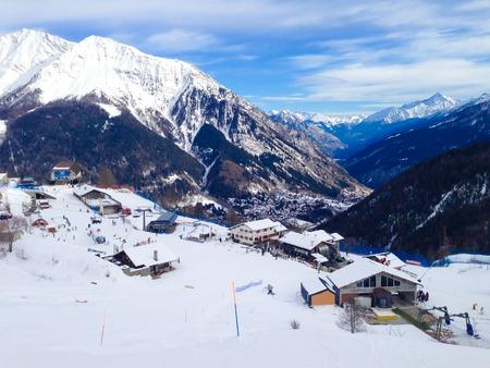 COURMAYEUR, ITALY - JANUARY 27, 2015: Winter resort Courmayeur, Italian Alps on January 27, 2015