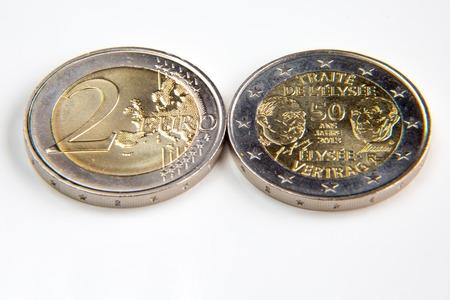 Two euro coin both sides macro shot