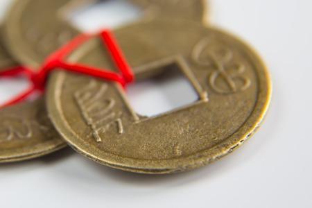 feng: Chinese feng shui lucky coins macro shot