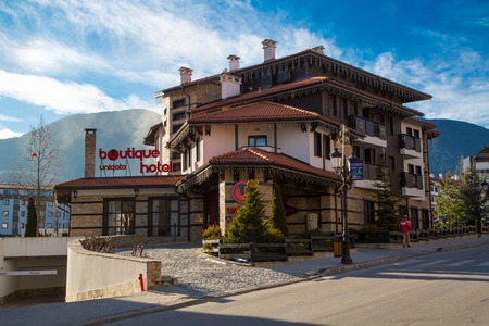 BANSKO, BULGARIA - February 2015: Street and mountain view in Bansko, Bulgaria, 19 February 2015