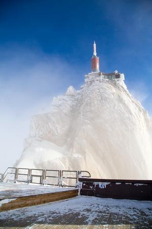aiguille: The mountain top station of Aiguille du Midi near Chamonix in fog