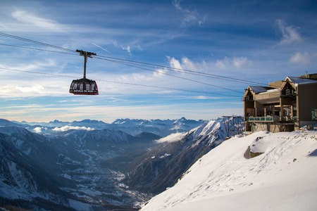 aiguille: CHAMONIX, FRANCE - JANUARY 28: Cable Car from Chamonix to the summit of the Aiguille du Midi on January 28, 2015 in Chamonix, France. Editorial