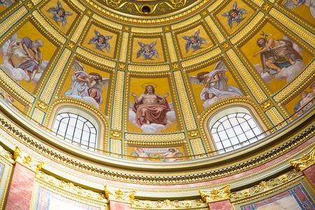 saint stephen cathedral: Interior of Szent Istvan basilica in Budapest Editorial