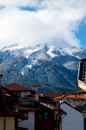 Winter view of the ski area in Bansko, Bulgaria  from the town photo