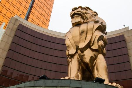 MACAU, CHINA - 8 JANUARY 2014 - The lion statue near MGM Casino, on 8 January, 2014, in Macau, China.