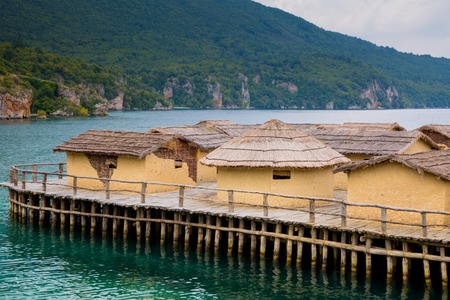 reconstructed: The Bay of the Bones the reconstructed site of a prehistoric settlement at Lake Ohrid, Republic of Macedonia Stock Photo