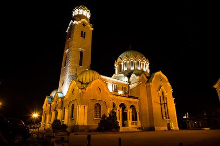 veliko tarnovo: Night view of cathedral  in Veliko Tarnovo, Bulgaria