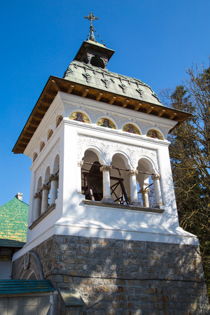 bell tower: Bell tower at Sinaia Monastery, Romania Stock Photo