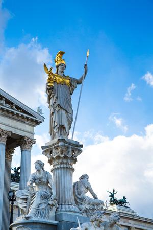 athene: Parliament building in Vienna, Austria and statue of Pallas Athena Brunnen