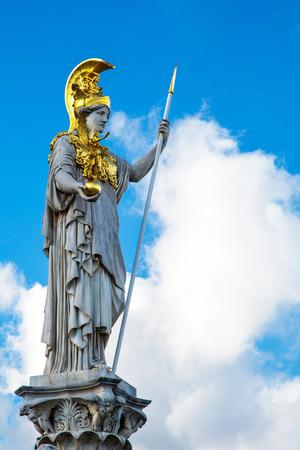 athene: Statue of Pallas Athena Brunnen near Parliament building in Vienna, Austria Stock Photo