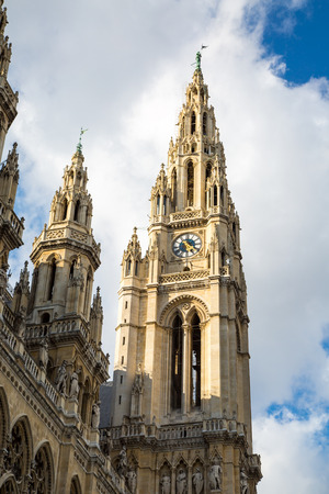 cityhall: Partial view of Vienna City Hall,  Wiener Rathaus, Austria