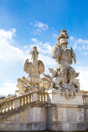 the gloriette: Statue of guardians at Gloriette in Schonbrunn palace, Vienna Stock Photo