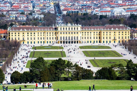 gloriette: VIENNA, AUSTRIA - April 3, 2015: Vienna panorama and  Schonbrunn Palace view from Gloriette. Schonbrunn Palace is UNESCO World Heritage Site