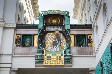 accompaniment: Jugendstil Ankeruhr Vienna Clock at Hoher Markt. At 12 oclock noon the parade of the figures with musical accompaniment takes place Stock Photo