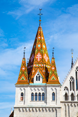 matthias church: Part of the roof of Matthias Church in Budapest, Hungary