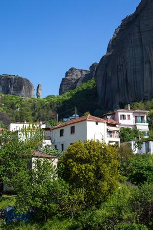 kalampaka: White houses of Kastraki village under the rocks of Meteora, Greece