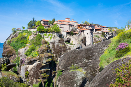 kalambaka: The Great Meteoro Monastery and view of  Meteora rocks in Kalambaka, Trikkala, Greece Stock Photo
