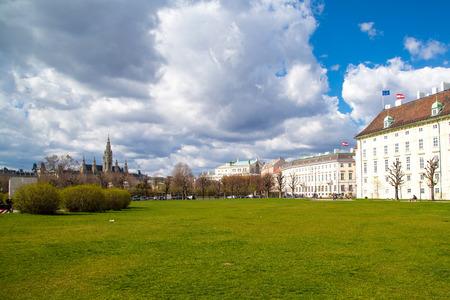 rathaus: Part of the park near Hofburg, Vienna City Hall,  Wiener Rathaus, Austria Stock Photo