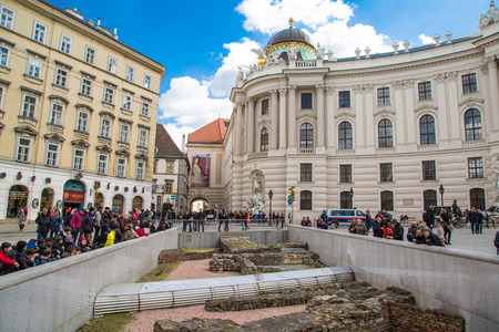 garden settlement: Vienna, Austria - April 3, 2015: Michaelerplatz in Vienna and people looking at the medieval remains. Foundations of Roman settlement and remains of the walls of the Garden of Paradise