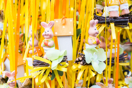 funny easter: Funny Easter rabbits figurines in a market