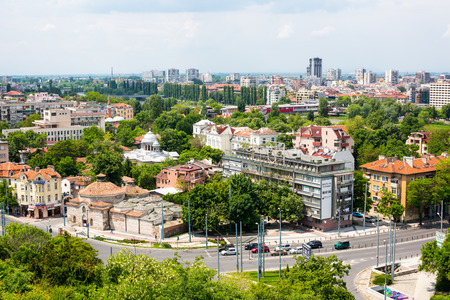 Cityscape View of Plovdiv city Bulgaria from the old fortress Editorial
