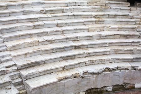 roman amphitheater: Background of ancient stairs. Fragment of the ancient roman amphitheater old town of Plovdiv Bulgaria. Stock Photo