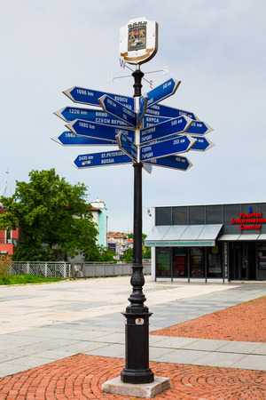 long distance: Plovdiv, Bulgaria - May 10, 2015: Long Distance Signpost showing the distance to the different cities and countries, Plovdiv, Bulgaria Editorial