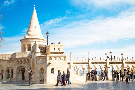 buda: Budapest, Hungary - March 29, 2015: Tourists at Fisherman Bastion on the Buda Castle hill in Budapest, Hungary