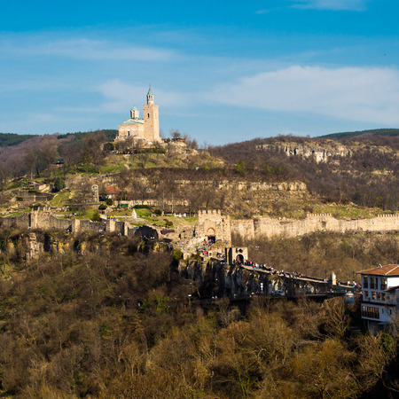 tarnovo: Autumn view of Tsarevets fortress and Patriarch church  in Veliko Tarnovo Bulgaria