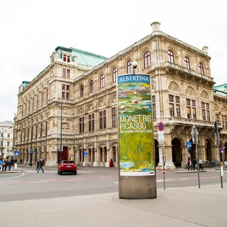 monet: Vienna, Austria - April 2, 2015: Vienna street view and advertisement of Monet and Picasso in Albertina, Austria Editorial