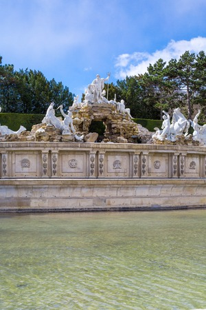 schonbrunn palace: The Neptune Fountain at the Schonbrunn Palace Vienna Austria Stock Photo