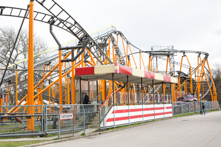 prater: Vienna, Austria - April 5, 2015: View of the various attractions situated inside of the Prater amusement park in Vienna
