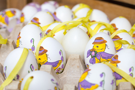 eastertime: Colorful painted Easter eggs at the traditional market Stock Photo