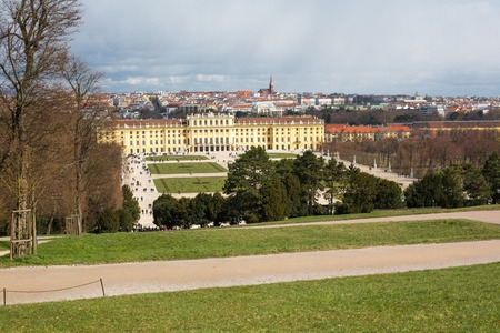 schonbrunn palace: Vienna panorama and  Schonbrunn Palace view. Schonbrunn Palace is UNESCO World Heritage Site Editorial