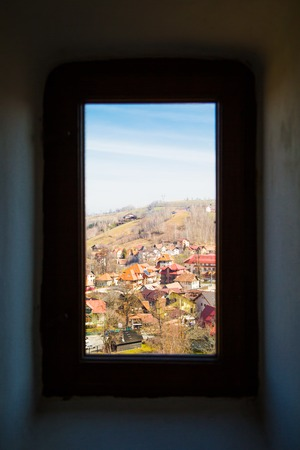 window view: Window view of the old Romania village