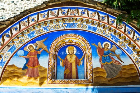 church architecture: Rila, Bulgaria - June, 25, 2015: Wall painting at the entrance of Rila Monastery. The monastery is the largest in Bulgaria and a UNESCO World Heritage site Editorial