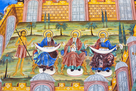 jacob: Rila, Bulgaria - June, 25, 2015: Wall painting  of Abraham, Isaac, Jacob at Rila Monastery church. The monastery is the largest in Bulgaria and a UNESCO World Heritage site Editorial