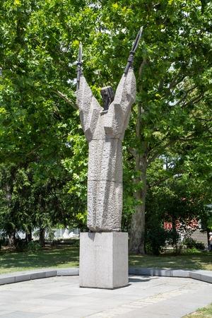 sofia: Sofia, Bulgaria - June 4, 2015: Statue of Kliment Ohridski in the center of Sofia, Bulgaria