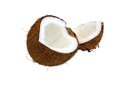 two and a half: Two half parts of the ripe brown coconut isolated on white background Stock Photo