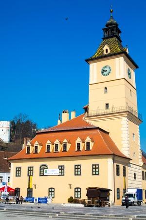 brasov: Brasov, Romania - March 24, 2015: The old town hall and the council square, Brasov, Transylvania, Romania