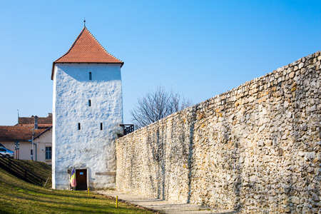 brasov: Part of the fortress wall and Weavers bastion or Bastionul Tesatorilor in Brasov city, Romania